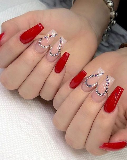 Red Coffin Nails with Hearts