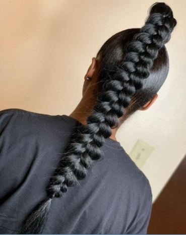 Butterfly ponytail design for black hair