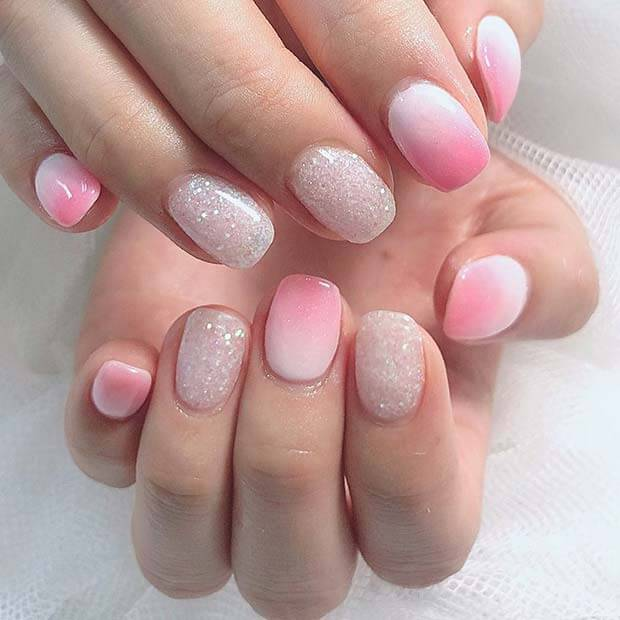 23 Pink and White Ombre Nails