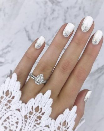 white synthetic nails