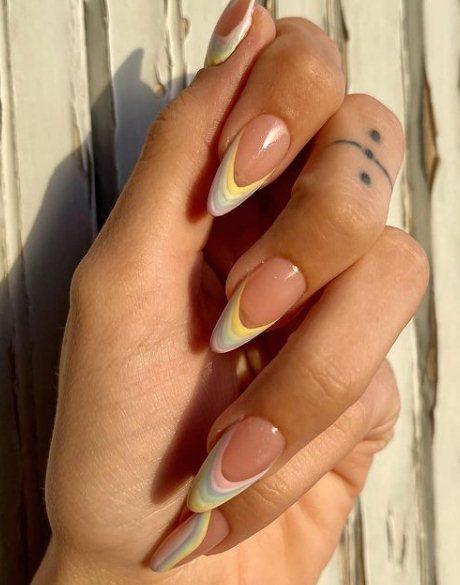 3. Pastel Rainbow Nails