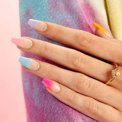 Colorful Pastel Coffin Nails
