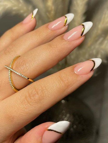 16. French Long Almond Nails