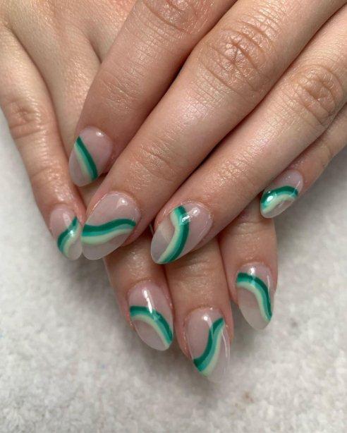 Green Shamrock Nail Design