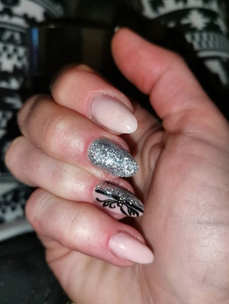 5. Nude Nails with Silver Foil Tips