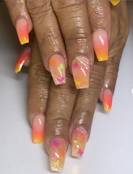 Neon Orange Coffin Nails