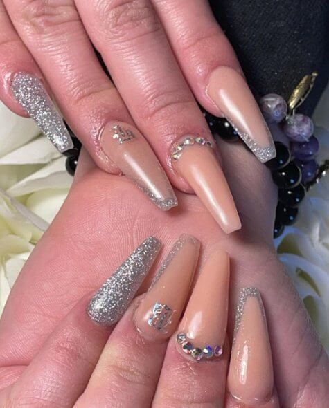 17. Nude and Silver Glitter