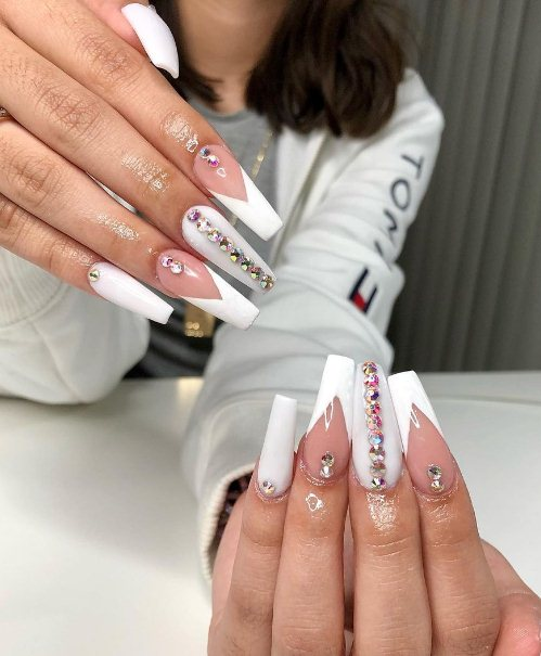 Ombre Nails with Rhinestones