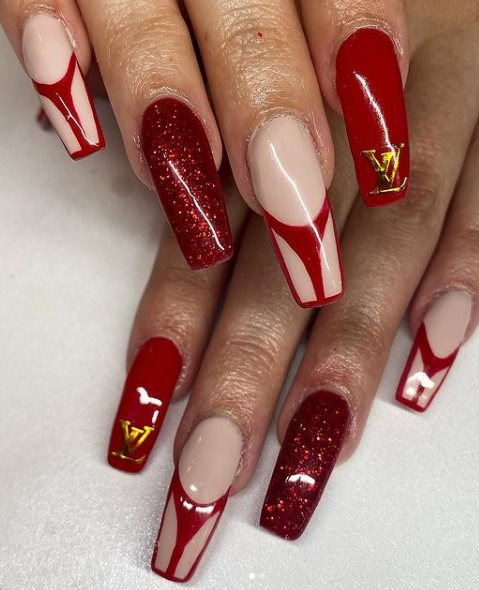 Red French manicure with gold