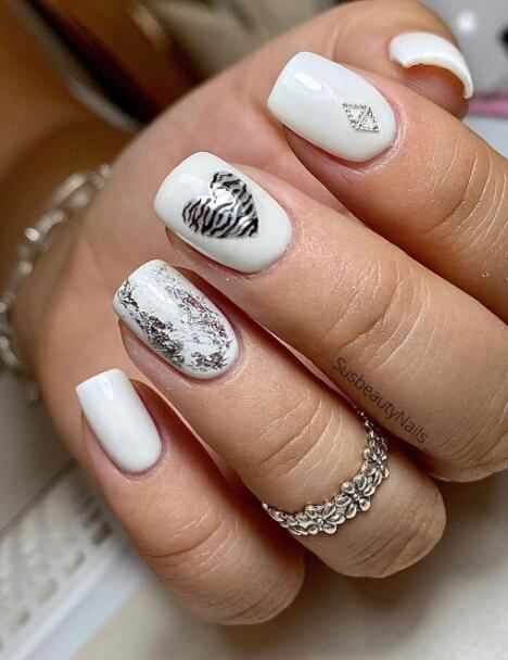 18. White and Silver Nails