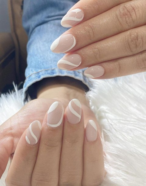 white Nude Ombre Nails