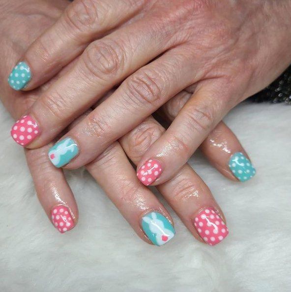 Easter bunny manicure idea