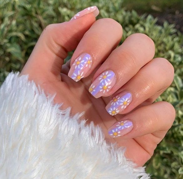 Purple Ombre Nails with Flowers