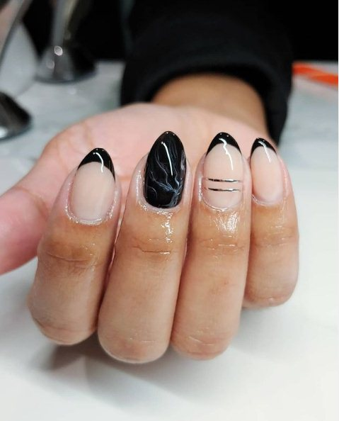 1. Short almond nails