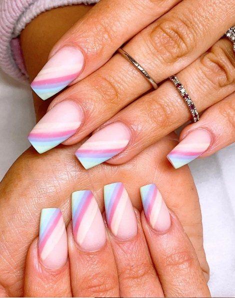 Professional rainbow nails