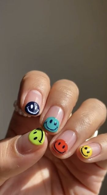 Rainbow Nails With Smiley Faces