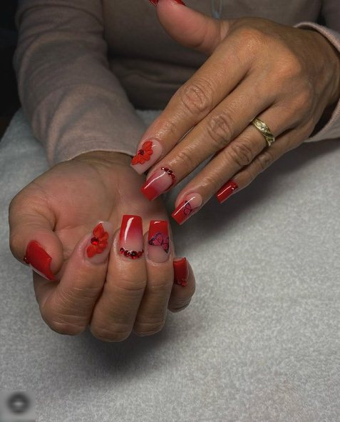 3. Long Red Ombre Nails