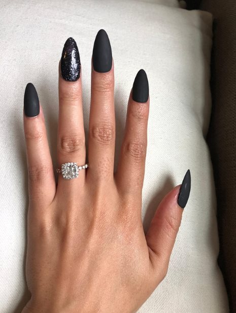 Black Acrylic nails coffin