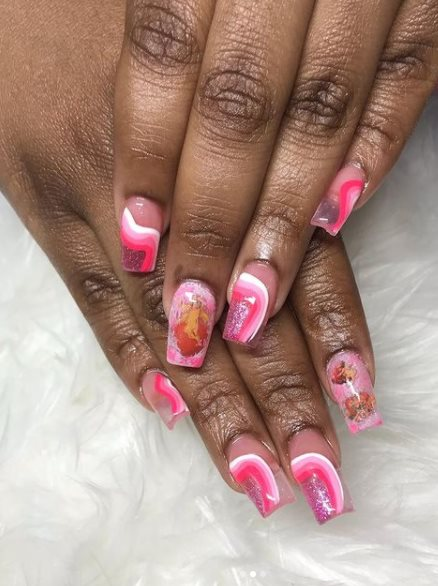 Angels in Pink Sky Nail Art