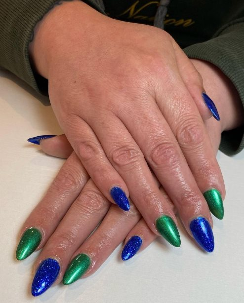 Blue and green nail colors