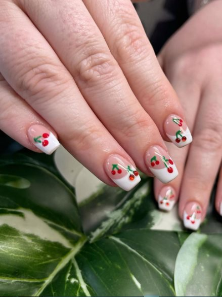 Cherry french nails