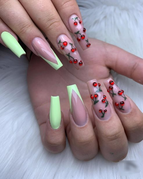 French tip cherry nails
