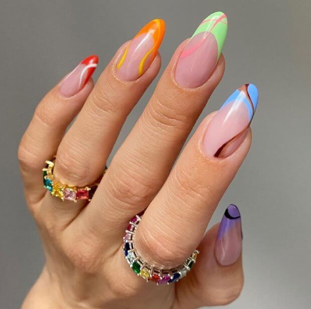 Mismatched nail design ideas