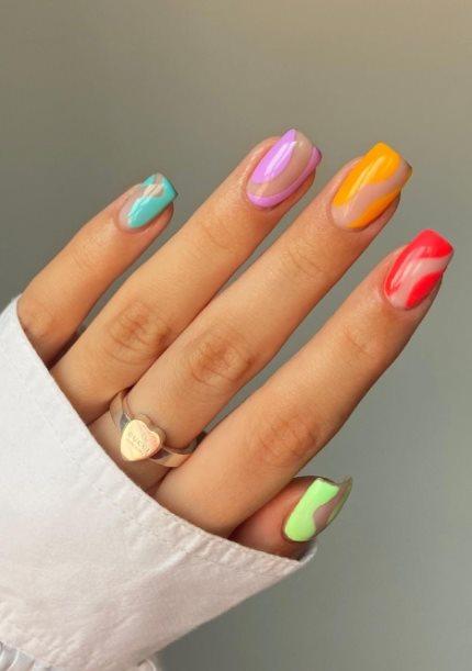 Neon Glow Pride Nails