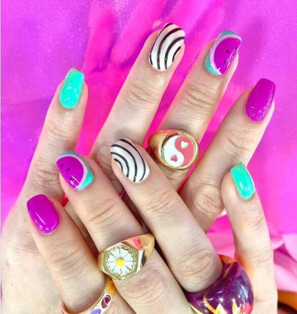 Pink And Green Swirls Nail Ideas
