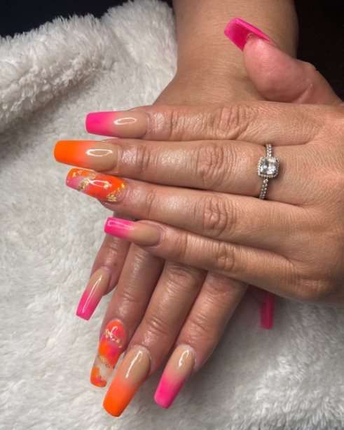 Pink colored Summer Nails
