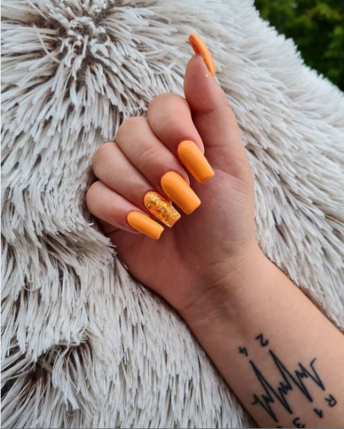 Diamond nails with gold accessories