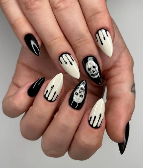 Halloween black and white nails