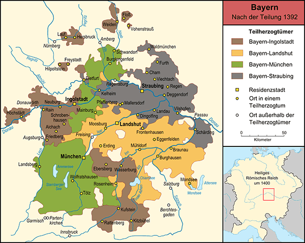 Karte der vier bayerischen Herzogtümer im Jahr 1392.