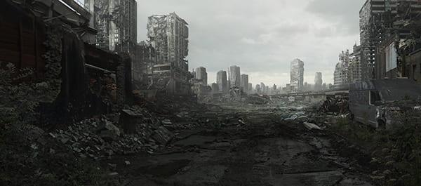 Grafik einer zerstörten Stadt
