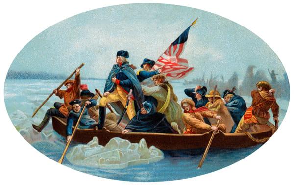Bild von Washington, der den Delaware überquert