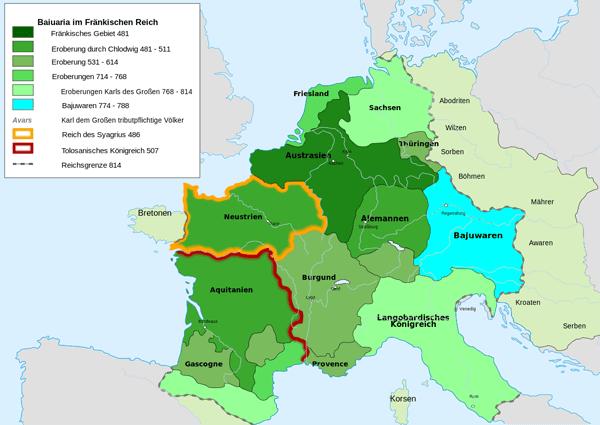 Karte des Fränkischen Reiches mit dem Gebiet der Bajuwaren