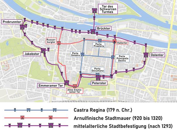 Karte der Stadtmauern von Regensburg