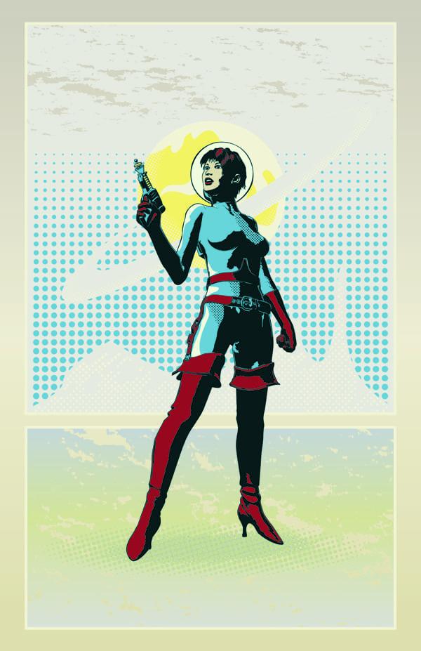 Poster mit einer Frau im Motiv der Science Fiction der 1920er und 1930er Jahre