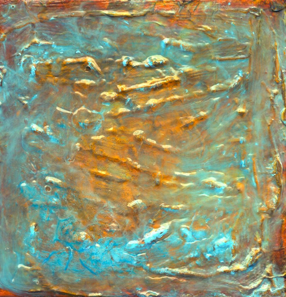 gold and blue abstract painting