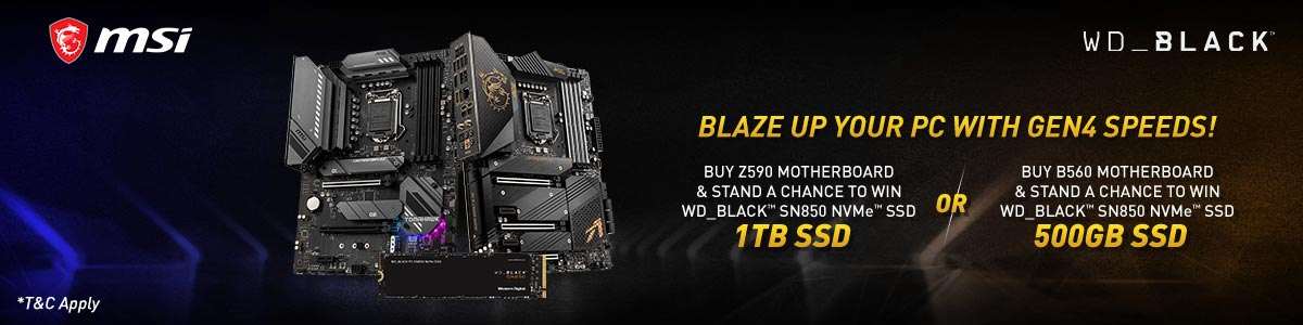 Buy MSI Z590 motherboard and chance to win 1TB WD SN850 black NVMe SSD or buy B560 motherboard and chance to win 500GB WD SN850 black NVMe SSD
