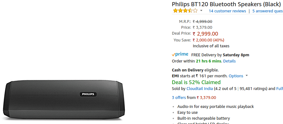 Philips BT120 - Electronics Deals - Amazon Great Indian Festival 2017