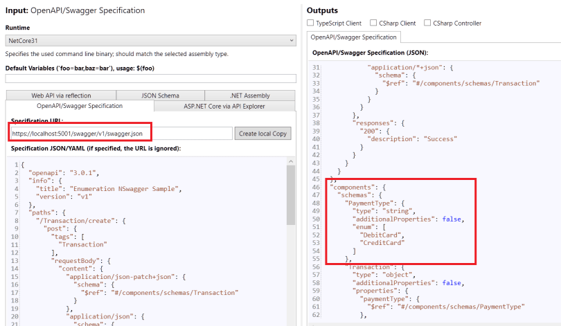 Figure 5: Open Api/ Swagger specification on NSwagStudio