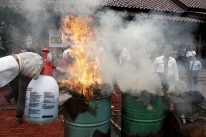 Seluruh barang bukti hasil kejahatan konservasi sumber daya alam dan ekosistemnya di Lapangan Bhayangkara, Jakarta, Selasa (2/2)