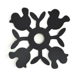 Fåglar, svart, ljusmanschett i svartlackerad aluminium.