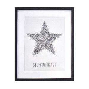 Selfportrait, tavla, svart tryck på krämfärgat papper med linnestruktur