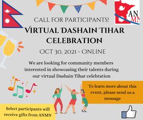 Dashain Tihar Virtual Celebration – Call for Participants