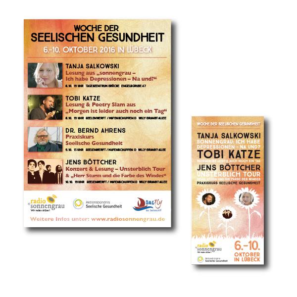 Plakat und Flyer für die Woche der seelischen Gesundheit Lübeck