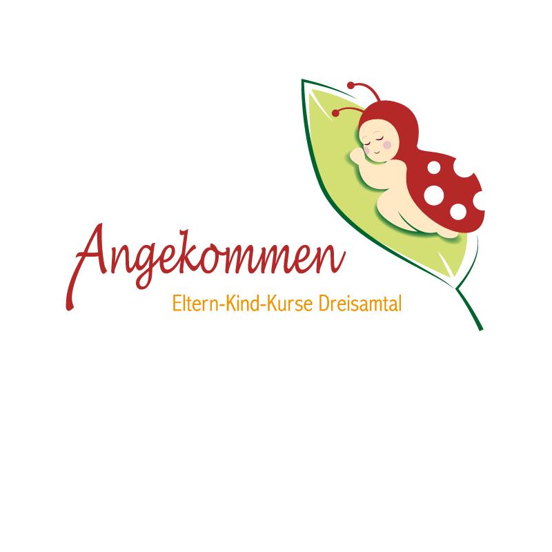 Logo mit Signet für Angekommen