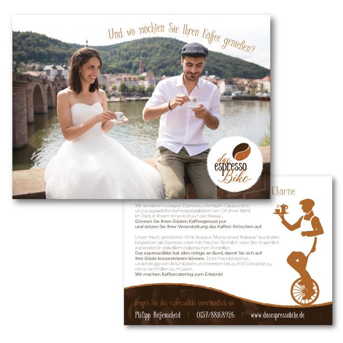 Postkarte für das espressoBike, Zielgruppe Hochzeiten