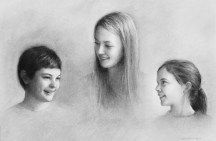 The Hicksbeach Children. Charcoal on paper.